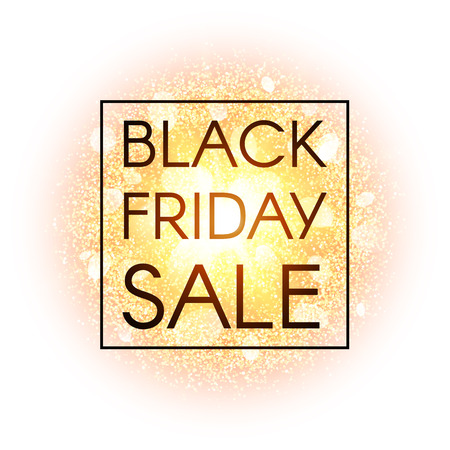 bomb price: Black Friday sale banner on abstract explosion background with gold glittering elements. Burst of glowing star. Dust firework light effect with glow. Vector illustration