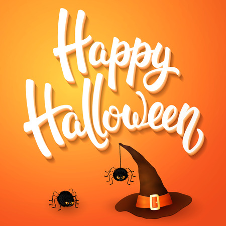 3d witch: Halloween greeting card with witch hat, angry spiders and 3d brush lettering on orange background. Decoration for poster, banner, flyer design. Vector illustration