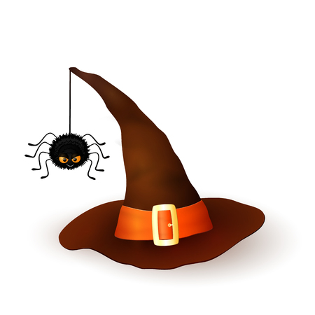 3d witch: Cartoon Halloween 3d witch hat with hanging hairy black spider isolated on white background. Brown cap with an orange ribbon and buckle. Vector illustration