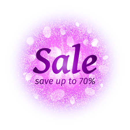dust cloud: Sale banner on abstract round powder cloud with dust pink particles isolated on white background. Dust firework light effect with glow. Sparkles splash background. Vector illustration Illustration