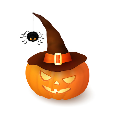 3d witch: Cartoon Halloween 3d pumpkin with witch hat and hanging hairy black spider isolated on white background. Scary squash wearing brown cap with an orange ribbon and buckle. Vector illustration Illustration