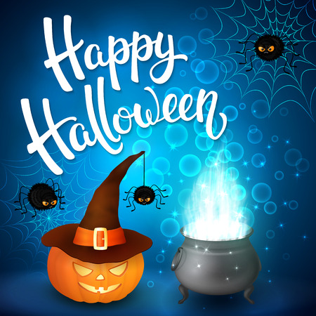 Halloween greeting card with witch cauldron, hat, pumpkin, angry spiders, net and brush lettering on blue background with bubbles. Decoration for poster, banner, flyer design. Vector illustration