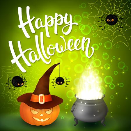 Halloween wenskaart met heks ketel, hoed, pompoen, boos spinnen, net en borstel letters op groene achtergrond met bubbels.
