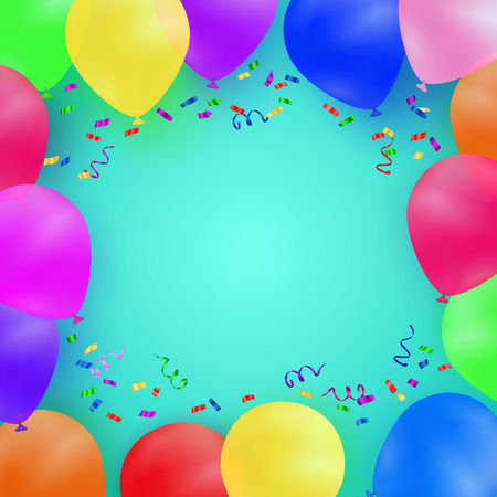 celebrating: Celebrating background with colorful balloons and confetti.