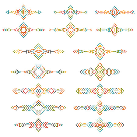Colorful ethnic borders set isolated on white background. Collection of boho tribal elements. Line style art.
