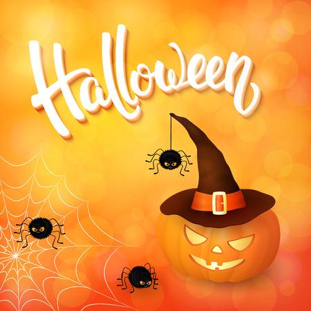 Halloween wenskaart met pompoen die hoed, boos spinnen, net en 3d penseel letters op oranje achtergrond met bokeh elementen. Stock Illustratie