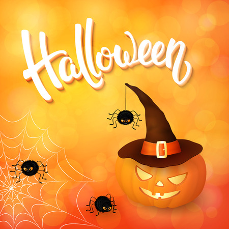 Halloween greeting card with pumpkin wearing hat, angry spiders, net and 3d brush lettering on orange background with bokeh elements.