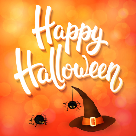 Halloween greeting card with witch hat, angry spiders and 3d brush lettering on orange background with bokeh elements. Illustration