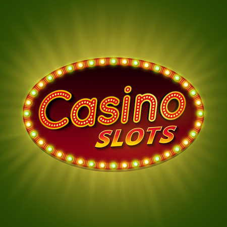 dark street: Casino slots. 3d retro light banner with shining bulbs. Red sign with green and yellow lights on dark background. Casino street signboard. Advertising frame with glow.
