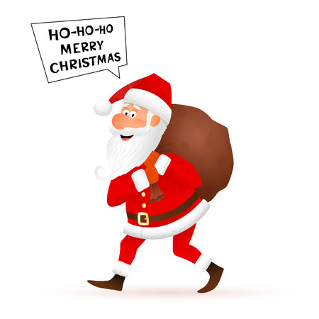 telling: Santa Claus flat character isolated on white background. Walking funny old man carrying sack with gifts and telling Merry Christmas.