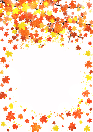 Vertical autumn banner template with blank space for text. Seasonal fall poster with red, orange and yellow falling leaves with watercolor splash on white background. Colorful vector illustration