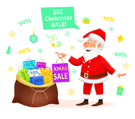 christmas sale flat funny old man character holding xmas gift on christmas background discount