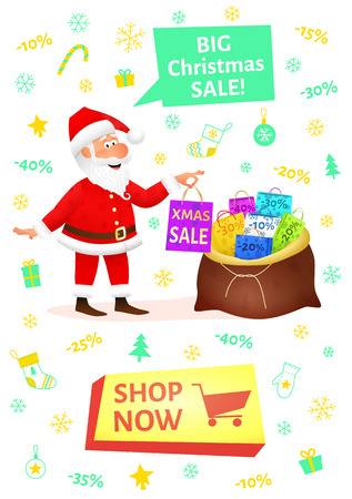 Christmas shopping banner with button shop now. Sale poster with flat funny man character holding Xmas gift on Christmas background. Discount placard template. Santa Claus cartoon vector illustration