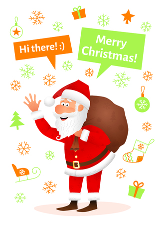 Santa Claus flat character isolated on white Christmas hand drawn background. Standing funny old man carrying sack with gifts, waving hand and telling Merry Christmas. Cartoon vector illustration Illustration