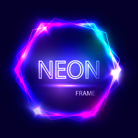 Neon round glowing frame. Electric circle on dark background. Light banner with glow. Bright sign with flares and sparkles. Vintage vector illustration Reklamní fotografie - 67243498