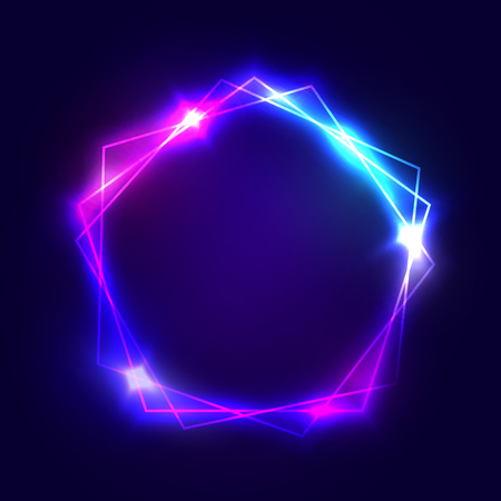 Neon sign. Pentagon background with blank space for your text. Glowing electric abstract frame on dark backdrop. Light banner with glow. Bright vector illustration with flares and sparkles. 일러스트