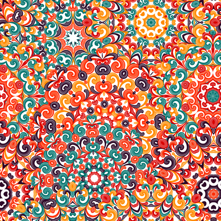 traditional pattern: Seamless colorful ethnic pattern with mandalas in oriental style. Round doilies with green, orange, yellow, brown curls and swirls weaving in arabesque traditional lace ornament. illustration. Illustration