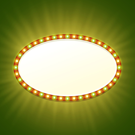 Blank 3d retro light banner with shining bulbs. Red sign with yellow and green lights and blank space for your text. Vintage street signboard. Advertising oval frame with glow. illustration.