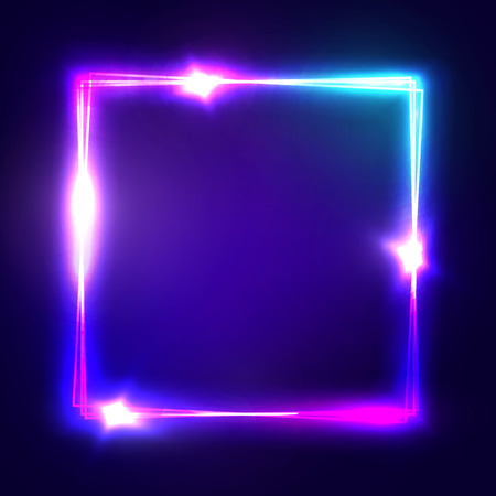 Neon sign. Square frame with glowing and light. Electric bright 3d rectangle design on dark blue backdrop. Neon abstract background with flares and sparkles. Vintage illustration. Ilustração