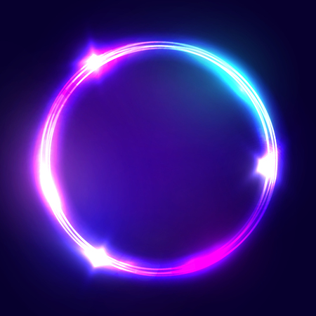 Neon sign. Round frame with glowing and light. Electric bright 3d circuit banner design on dark blue backdrop. Neon abstract circle background with flares and sparkles. Vintage illustration.  イラスト・ベクター素材