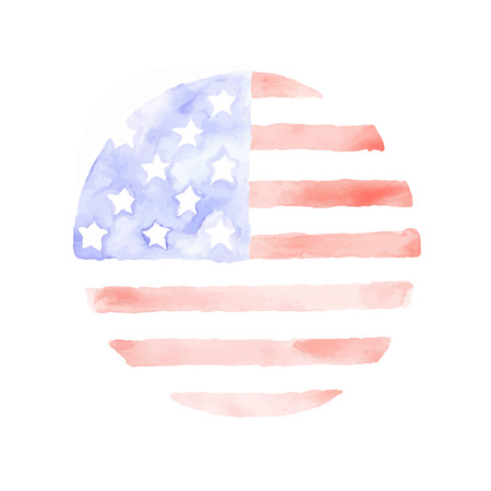 flagged: Watercolor USA Flag isolated on white background. The USA patriotic background.