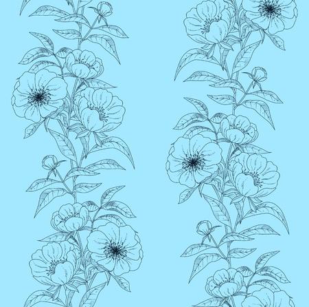 pfingstrosen: Floral seamless pattern with peonies. Vector illustration.
