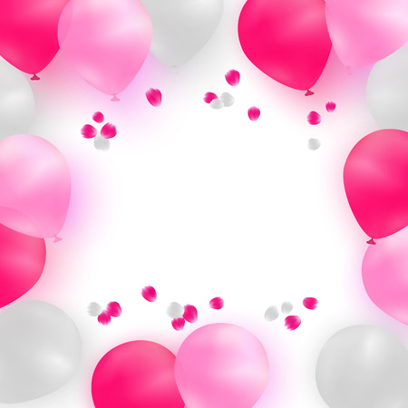 pink balloons: Greeting card template for wedding, birthday, Mothers Day. White and pink balloons on white background with rose petals. Illustration