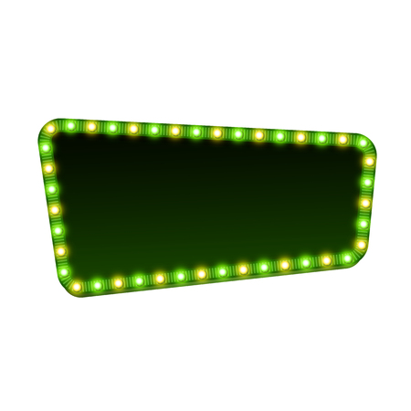 night lights: Blank 3d retro light sign with shining bulbs isolated on white background. Green street signboard with yellow and green marquee lights and dark backdrop. Advertising frame Colorful vector illustration