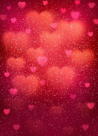 Heart pattern with cloud of glowing blurred bokeh hearts and glitter confetti. Pink light backdrop for wedding, romantic, Valentines Day, Mothers Day cards design. Colorful vector illustration.