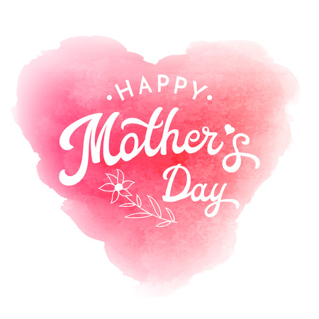 Happy Mothers day. Card or poster template with flower and hand lettering inscription on pink abstract heart shaped blurred background. Decoration for Mothers Day design. Font vector illustration.