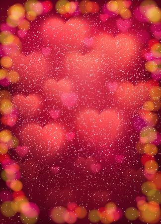 Heart background with cloud of glowing blurred soft hearts, glitter confetti and colorful bokeh elements. Pink light backdrop Valentines Day, Mothers Day cards design. Colorful vector illustration.