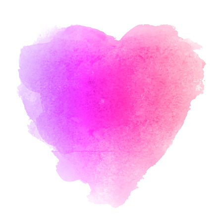 Watercolor gradient violet and pink hand drawn paper texture isolated heart shaped stain on white background for valentines day. Abstract aquarelle vector illustration. Wet brush romantic painting. Stock Illustratie
