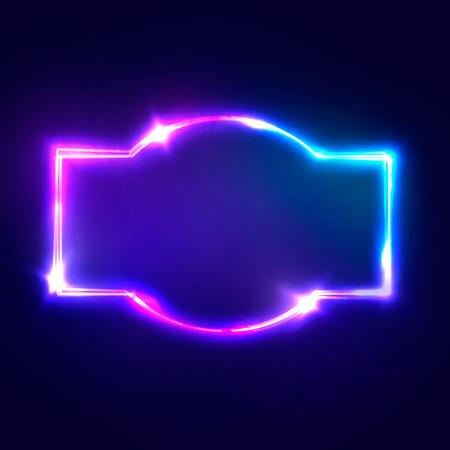 Night Club Neon Sign. Letrero ligero retro 3d en blanco con efecto de neón brillante. Marco de Techno con brillar en el telón de fondo azul oscuro. Electric Street Banner Design. Ilustración colorida del vector en el estilo de los años 80