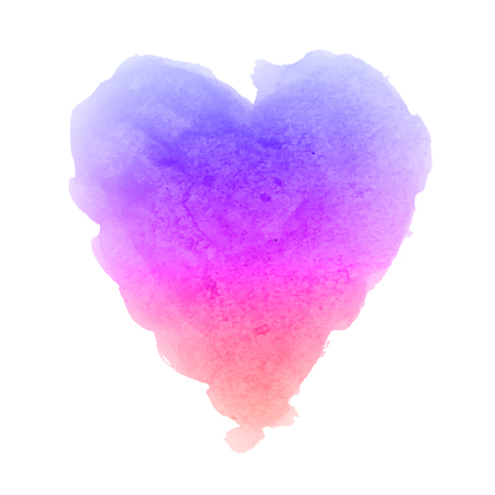 Watercolor gradient violet pink orange hand drawn paper texture isolated heart shaped stain on white background for valentines day. Abstract aquarelle vector illustration. Wet brush romantic painting.