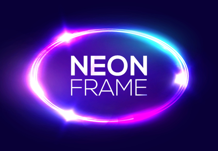 Neon sign. Oval frame with glowing and light. Electric bright 3d elliptical banner design on dark blue backdrop. Neon abstract ellipse background with flares and sparkles. Vintage vector illustration.  イラスト・ベクター素材