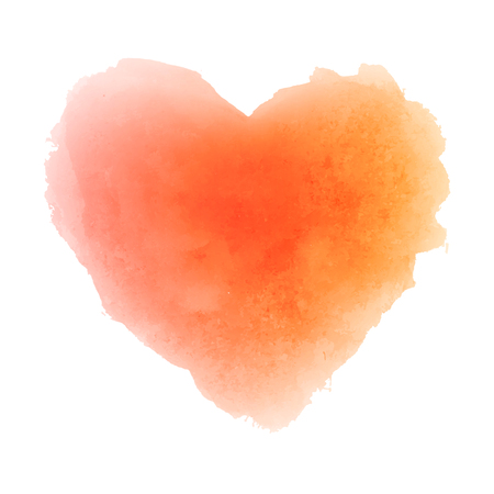 Watercolor orange hand drawn paper texture isolated heart shaped stain on white background for valentines day or autumn design. Abstract vector illustration. Grunge styled wet brush romantic painting.