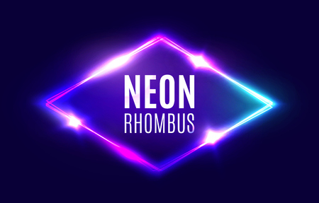 Night Club Neon Rhomb. 3d Retro Light Lozenge Sign With Neon Effect. Techno Rhombus Background. Glowing Brill Frame On Dark Blue Backdrop. Electric Street Diamond. Vector Illustration in 80s Style.