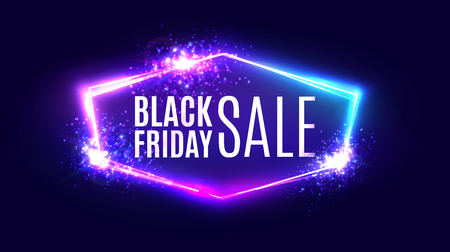 Black friday sale banner on neon background. Vettoriali