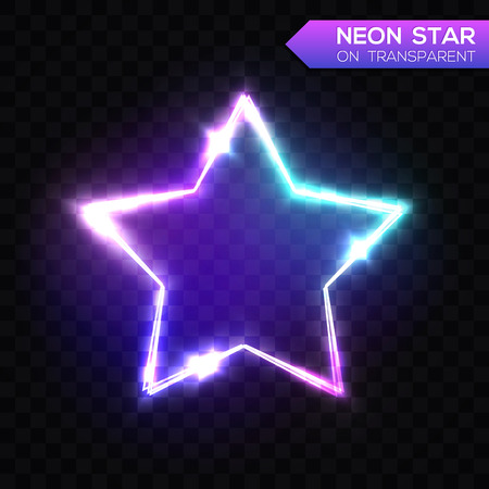Abstract Neon Star on Dark Blue Transparent Background. Ilustrace