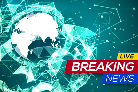 Breaking news live with world map on blue glowing plexus structure breaking news live with world map africa and europe on green structure background business technology gumiabroncs Image collections