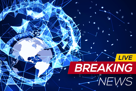 Breaking news live with world map on blue glowing plexus structure breaking news banner on blue glowing plexus structure background with earth planet america flares particles gumiabroncs Image collections