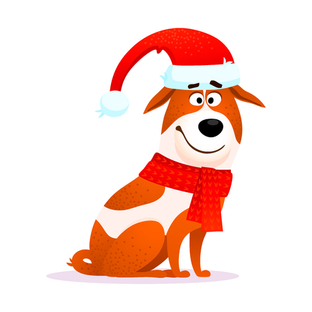 Funny cartoon dog. Flat character. Puppy of Jack Russell Terrier isolated on white background. Good for Christmas or New Year 2018 design. Doggy wearing Santa Claus hat. Christmas vector illustration.