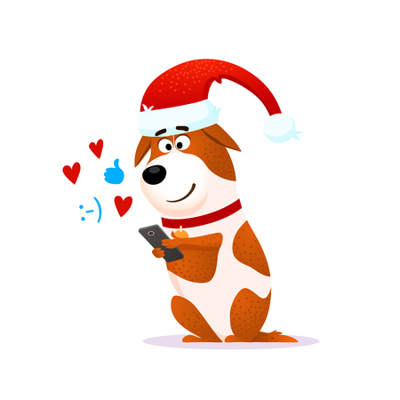 Funny cartoon dog portrait with mobile phone.