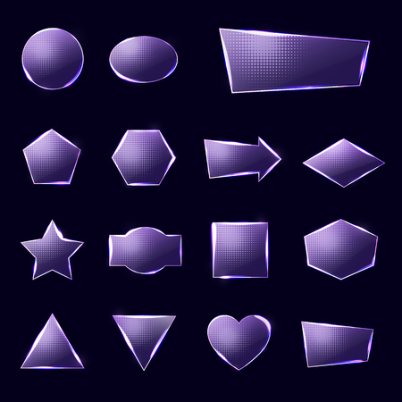 Violet glass plates set. Triangle square rectangle hexagon, pentagon, star, heart, circle textured frames with glow and light on deep blue background. Illustration