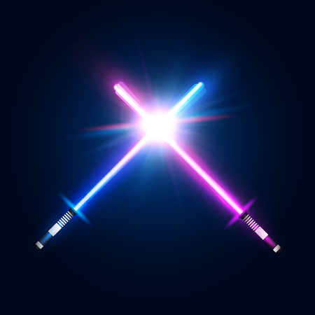 Two crossed light neon swords. Fight club logo or emblem. Blue and purple crossing laser rays. Glowing sabers in space. Design elements with flares and sparkles for your projects. Vector illustration.