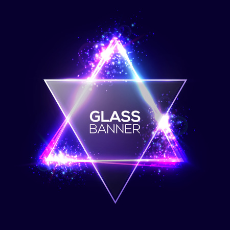 David star. Neon sign. Triangle Banner with Transparent Glass Plate. Glowing Electric Abstract Techno Frame on Dark Backdrop with Light, Glow Explosion and Firework. Colorful Vector Illustration EPS10