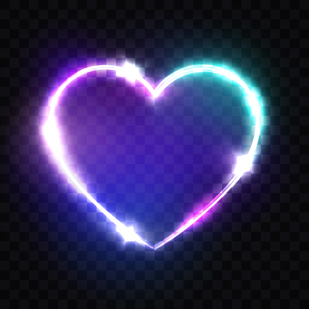 Night Club Neon Heart Sign. 3d Retro Light Signboard With Shining Neon Effect. Techno Frame With Glowing On Transparent Backdrop. Electric Street Banner Design. 80s Style Colorful Vector Illustration 矢量图像