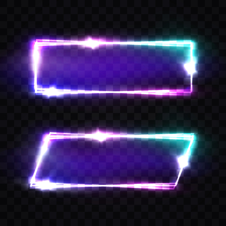 Night Club Neon Signs Set. Blank 3d Retro Light Background With Shining Neon Effect. Techno Frame With Glow On Transparent Backdrop. Electric Street Banner. Colorful Vector Illustration in 80s Style.