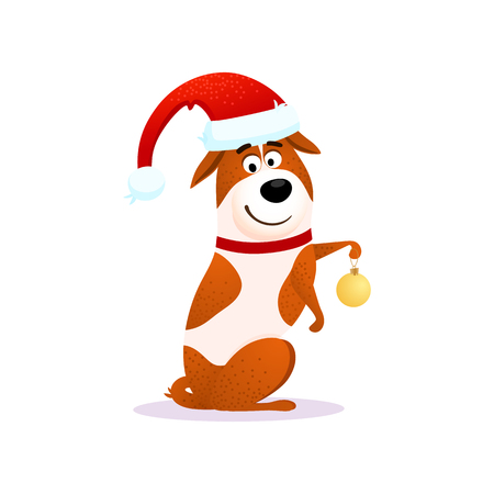Happy cartoon dog with Christmas decoration. Xmas funny flat character design. Puppy isolated on white background. Terrier wearing red Santa Claus hat. Christmas or New Year 2018 vector illustration.