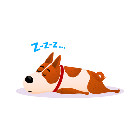 Funny cartoon sleeping dog portrait. Cute dozing flat character. Happy resting puppy of terrier isolated on white background. Napping doggy wearing red collar. Colorful vector illustration. Vettoriali